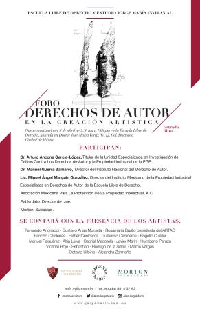 Cartel del Primer Foro de Derechos de Autor en la Creación Artísitica.
